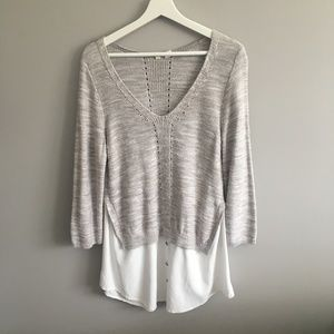 Moth Gray Sweater Blouse Top #045